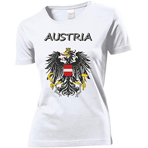Trendagentur KEPPLINGER Damen T-Shirt - Österreich - Aufdruck: Austria mit Staatswappen/Adler (Weiß, L)