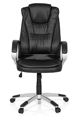 Bürostuhl Büro-Drehstuhl RELAX WB100 Kunstleder Schwarz, XXL Schreibtisch-Stuhl hohe Rückenlehne, mit Armlehnen, ergonomischer Chefsessel, Büro-Sessel, 62 x 65 x 126 cm, 72800 MyBuero
