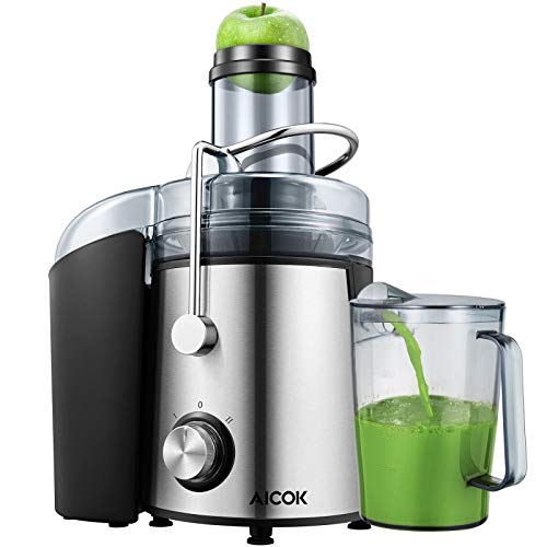 Extracteur de jus, Aicok Centrifugeuse des Fruits et des Légumes, 800W Machine à jus,75mm Machine Centrifuge à Grand Bouche, Avec brosse de Nettoyage pour Extracteur des Fruits et des Légumes, Acier Inoxydabl