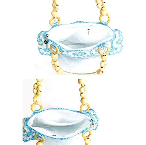 Handgefertigte 28 Stücke Von Oliven Perlen Exquisite Handtasche Blue