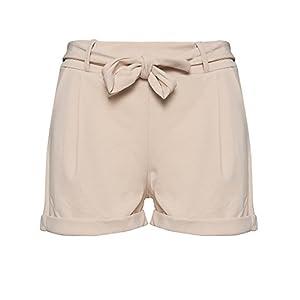 Kendindza Damen Sommer Shorts | Kurze Hose mit Schleife zum binden | Bermuda | Uni-Farben