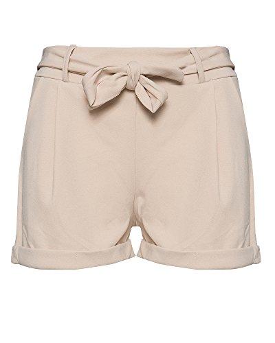 Kendindza Damen Sommer Shorts | Kurze Hose mit Schleife Zum Binden | Bermuda | Uni-Farben (OneSize, Beige)