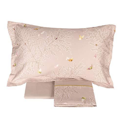 2107abd44b Fazzini - Juego Completo de sábanas para Cama Individual de Puro Raso de  algodón con Precioso