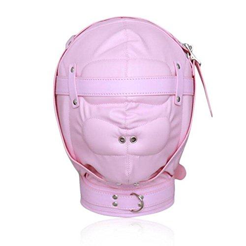 LYM Isolationsmaske Leder Full Face Fetisch Hood Maske Bondage Knebel Masken Sklaven Erwachsene Sexspielzeug Für Paare Halloween Cosplay CF005 , Light pink -A
