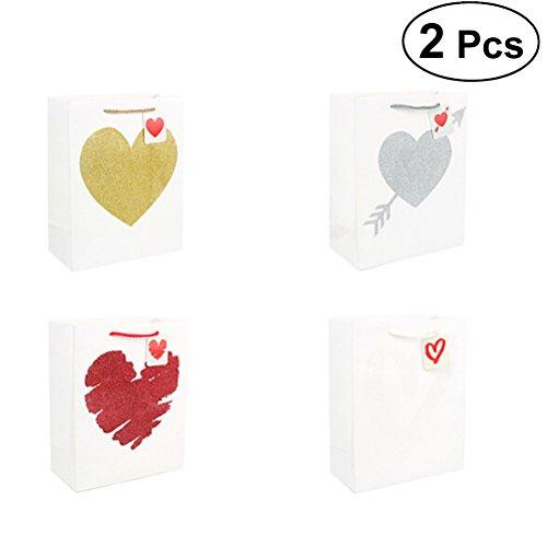 BESTOYARD Herz-Muster-Papier-Süßigkeitstaschen, die empfindliches Geschenk-Festlichkeits-Kasten-Hochzeitsfest-Bevorzugung 2pcs Wedding Sind
