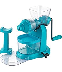 Sell ON Deluxe Fruit & Vegetable Manual Juicer Mixer Grinder with Steel Handle Polypropylene Hand Juicer & Waste Collector (Blue)