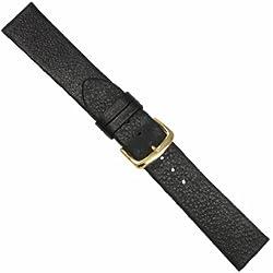 "Uhrbanddealer 18mm XL Ersatzband Uhrenarmband ""Kalb schlicht"" ohne Naht Kalb Leder Band Schwarz matt 12618g"