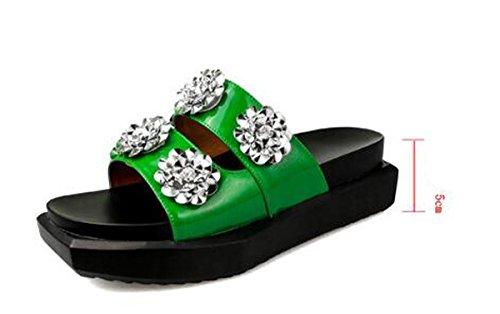 Beauqueen Pantoffel-Plattform-Frauen OL elegante Strass-Blumen-Dekoration rutschfeste bequeme beil盲ufige Schuhe EU-Gr枚脽e 35-40 Green