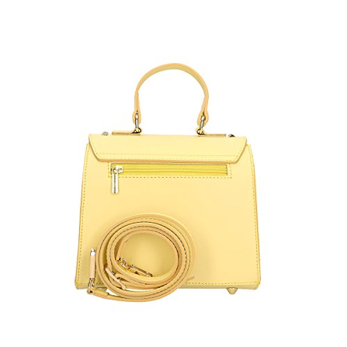 Chicca Borse Borsa a mano in pelle 20x18.5x11 100% Genuine Leather Giallo