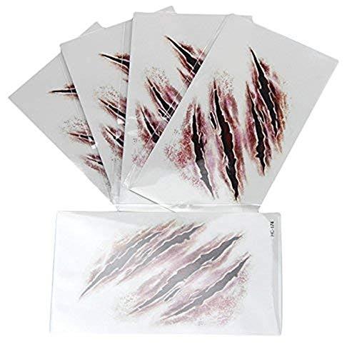 kashyk 1pc temporäre Tattoo-Sticker, Narben, realistische Narben, Body Art Tattoo-Sticker, wasserdicht, schweißfest, Maskerade Tattoo-Sticker