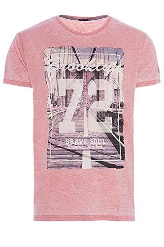 Brave Soul Herren Brücke oder Ozzy oder Genest T-Shirt Freizeit Baumwolle Tees - Brücke - Rot Burnout, XL - 107-112cm Brust -