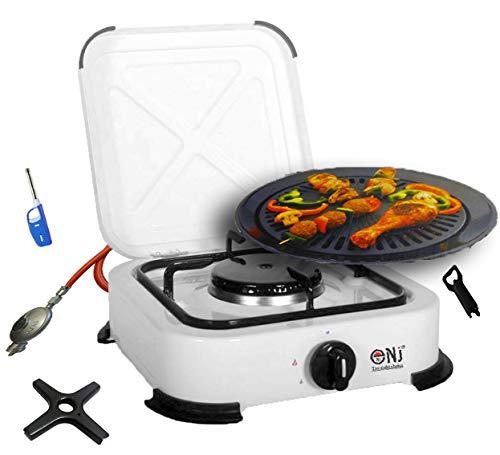 J+N 1 flammig Campingkocher 2,2 KW Gaskocher mit Deckel mit Grill-Aufsatz + Phönix Gasherdkreuz inkl. Gasschlauch-Regler-Set