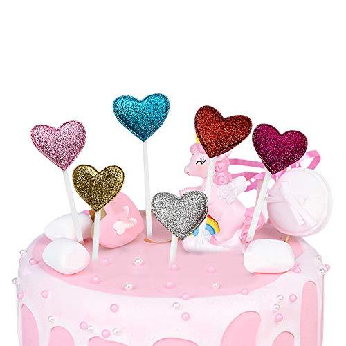 OPSLEA 6 Teile/Satz Mischfarbe Kuchen Dekorative Herz Muster Birthday Party Supplies Kuchen Backen Dekorative
