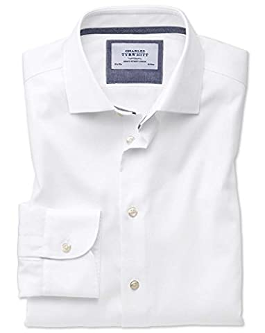 Slim Fit Semi-Cutaway Business Casual Non-Iron Modern Textures White Cotton Formal Shirt Single Cuff Size 15.5/33 by Charles