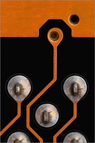 Poster 60 x 90 cm: Circuit Board Tin Kontakte von Antonio Romero/Science Photo Library - Hochwertiger Kunstdruck, Kunstposter