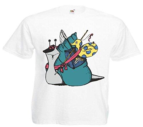 Motiv Fun T-Shirt Schnecke auf Reisen Cartoon Spass Kult Film Serie Motiv Nr. 12561 Weiß