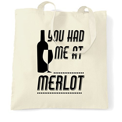 valentine herty - borsa shopping con scrittayou had me at merlot wine o'clock