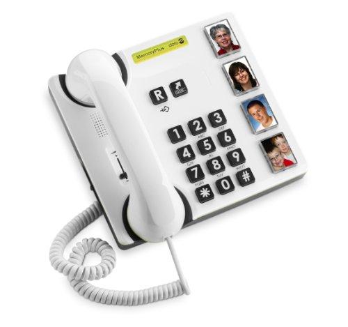 Doro MemoryPlus 319iph Schnurgebundenes Telefon (4 Direktwahltasten, optische Anrufsignalisierung) weiß