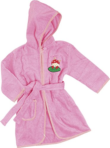 Playshoes - Frottee-Bademantel, Accappatoio per bambini,  manica lunga, collo con cappuccio, rosa(rosa (pink)), taglia produttore: 2 anni