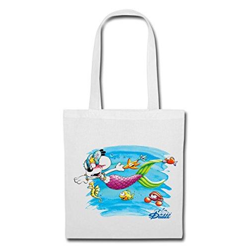 Spreadshirt Diddl Diddlina Als Meerjungfrau Unter Wasser Stoffbeutel Weiß