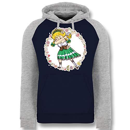 Bayrisches Girl Kostüm Bier - Oktoberfest Damen - Wiesnmadl Dab - grün - L - Dunkelblau/Grau meliert - JH009 - Baseball Hoodie