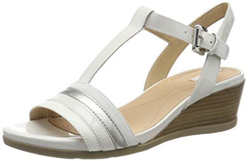 Geox d marykarmen c, sandali punta aperta donna, (off white/silver c0626), 37 eu