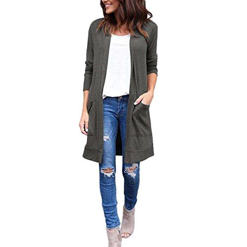 Lover-Beauty Damen Strickjacke Cardigan Öffnen Hoodies Einfarbig für Damen Langarm Strickmantel mit Taschen
