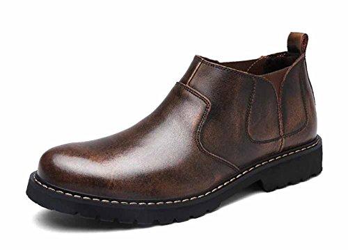Hommes Martin Outdoor Bottes d'hiver bottes de marche chaudes doublées fourrure Vintage Chelsea bottes