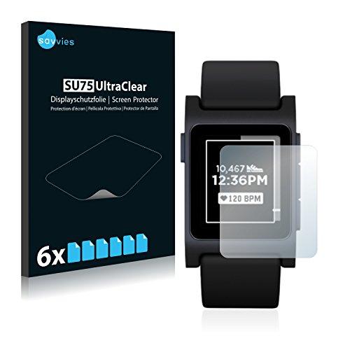 Savvies Schutzfolie kompatibel mit Pebble 2 Black [6er Pack] - klarer Bildschirmschutz