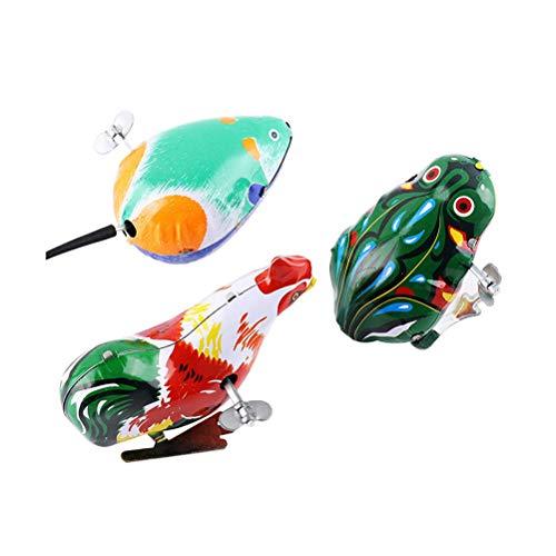 Toyvian Uhrwerk Springen Eisen Tier Spielzeug Kinder Klassisches Spielzeug Wind Up Action Toy 3 stücke - Wind-up Zinn Spielzeug