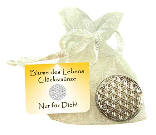 EnerChrom Blume des Lebens Glücksmünze - Nur für Dich - 1 Stück - Farbe Silber - Glücksbringer Lebensblume Talisman Münze