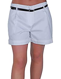 Eyecatch - Cuba Ladies Belted Shorts Womens Smart Turn up Hot Pants Sizes 10-20