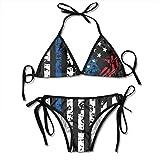 Stars and Stripes American Flag Sexy Women Beach Swimwear Two Pieces Bathing Suit Bikini Top