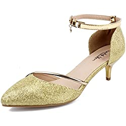 AgeeMi Shoes Damen Party Tanzschuhe Damen Spitz Zehe Geschlossene Pumps,EuD37 Golden 39