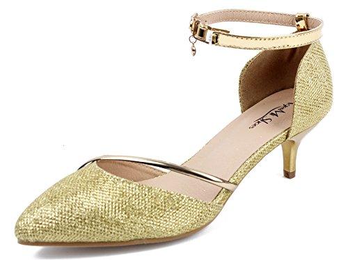 AgeeMi Shoes Damen Spitz Schließen Zehe Mittler Absatz Pailletten Party Pumps,EuD37 Golden 40