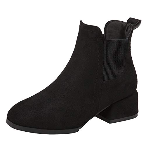 Robemon♚ Bottes Femme Hiver Chaussures Automne Tête Ronde Chic Talon Faible Bottines Automne Fille Façon Chelsea Plat Boots