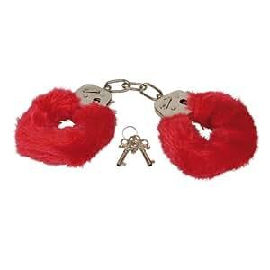 Playhouse Eroflame PMS0720011 Furry Love Cuffs, Liebes-Handschellen, mit abnehmbaren Plüschbezügen, Red