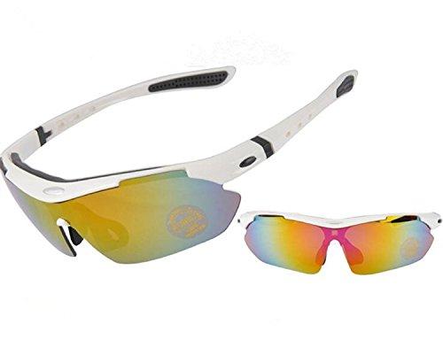'Ishow Unisex Polarisierte Outdoor Radfahren Sport UV-Schutz Sicherheit Sonnenbrille Gr. xl, Weiß