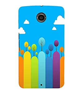 printtech Colored Line Trees Abstract Back Case Cover for Motorola Google Nexus 6