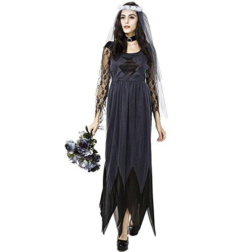 Waroomss Halloween Kostüme für Frauen, Geist Brautkleid Sexy Black Lace Kleider Rundhals Halloween...