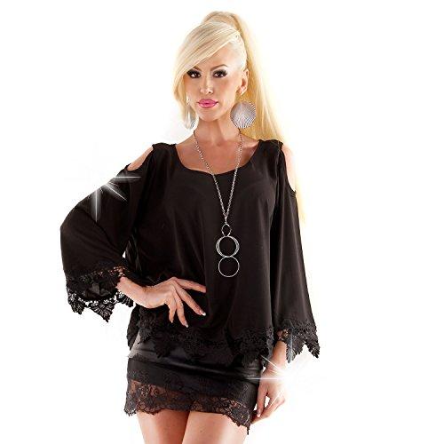 Cutout Tunika offene Schulter Bluse mit Häkel Bordüren Hängerchen Oversize Shirt Schwarz