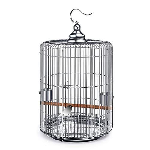 Suministros para pájaros Jaula para pájaros Redonda de Acero Inoxidable Jaula para pájaros Starling Parrot Tordo (tamaño : 39 * 50cm)
