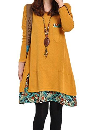 BININBOX Damen Pullover Gestrickt Pulli Winter Rundhals Strickkleid Knielang mit Blumen Longshirt Sweatshirt (Gelb)