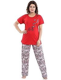 TUCUTE Women Girls Cotton Hosiery Top   Pajama Set with Pocket Nightsuit 337be0cb3