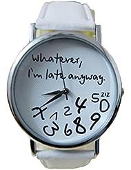 Relojes Pulsera Mujer,Xinan Reloj de cuero Letra Relojes Nueva (Blanco)