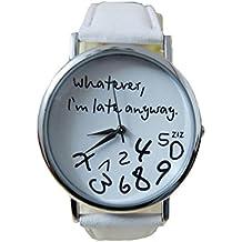 Xinantime Relojes Pulsera Mujer,Xinan Reloj de Cuero Letra Relojes (Blanco)
