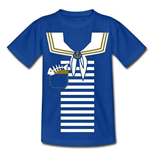 Kostüm Seemann Teenager Mädchen Für - Spreadshirt Matrose Uniform Teenager T-Shirt, 152/164 (12-14 Jahre), Royalblau