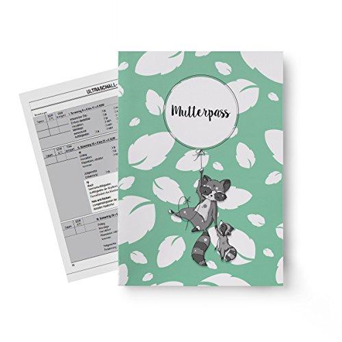 Miolina Mutterpass Hülle Waschbär | passend für Deutschland | inkl. drittem INNENFACH für Gesundheitskarte | Schwangerschafts Geschenkidee | Personalisierung möglich