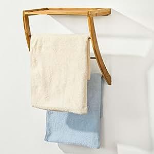 SoBuy® FRG47-N Porte-serviettes mural en bambou et Inox avec 1 tablette et 3 barres salle de bain toilettes, étagère murale