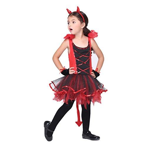 B-JOY Kinderkostüm Teufelchen, Ballettröckchen Kleid mit Haarreif und Handschuhe, 95cm - 135cm Mädchen, rot, Halloween (Halloween Jahre 12 Alt Kostüme 10)